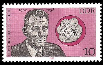 10 Pf Briefmarke: Bedeutende Persönlichkeiten, Frederic Joliot-Curie