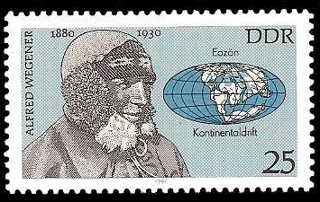 25 Pf Briefmarke: Bedeutende Persönlichkeiten, Alfred Wegener