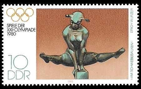 10 Pf Briefmarke: Spiele der XXII.Olympiade 1980, Schwebebalken