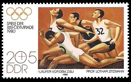 20 + 5 Pf Briefmarke: Spiele der XXII.Olympiade 1980, Zieleinlauf