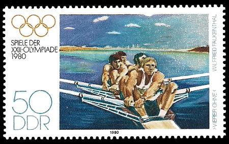 50 Pf Briefmarke: Spiele der XXII.Olympiade 1980, Ruderer