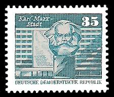 35 Pf Briefmarke: Sozialistischer Aufbau in der DDR, Karl Marx Stadt
