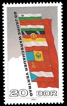 20 Pf Briefmarke: 25 Jahre Warschauer Vertrag
