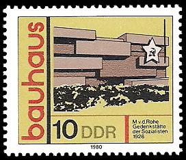 10 Pf Briefmarke: bauhaus, Gedenkstätte der Sozialisten