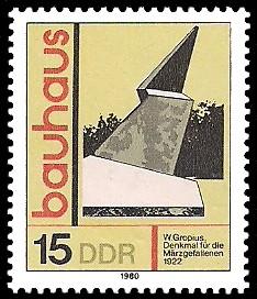 15 Pf Briefmarke: bauhaus, Denkmal für die Märzgefallenen