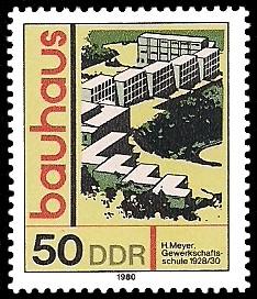 50 Pf Briefmarke: bauhaus, Gewerkschaftsschule