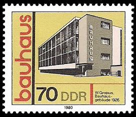 70 Pf Briefmarke: bauhaus, Bauhaus-Gebäude