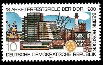 10 Pf Briefmarke: 18. Arbeiterfestspiele im Bezirk Rostock, Bauten