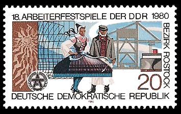 20 Pf Briefmarke: 18. Arbeiterfestspiele im Bezirk Rostock, Mönchgut-Tracht