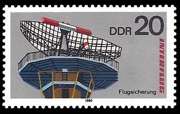 20 Pf Briefmarke: Interflug, Flugsicherung