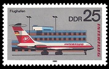 25 Pf Briefmarke: Interflug, Flughafen