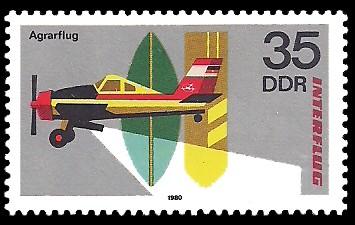35 Pf Briefmarke: Interflug, Agrarflug