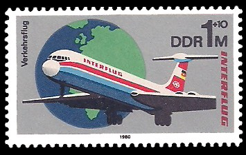 1 M Briefmarke: Interflug, Verkehrsflug