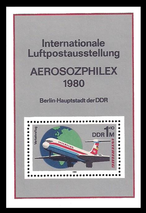 Briefmarke: Block - Interflug, Internationale Luftpostausstellung AEROSOZPHILEX