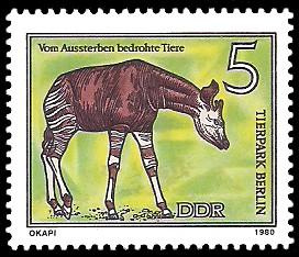 5 Pf Briefmarke: Vom Aussterben bedrohte Tiere, Okapi