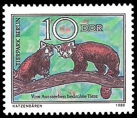 10 Pf Briefmarke: Vom Aussterben bedrohte Tiere, Katzenbär