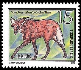 15 Pf Briefmarke: Vom Aussterben bedrohte Tiere, Mähnenwolf