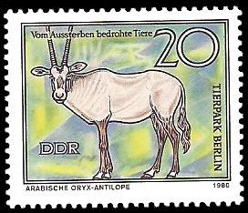 20 Pf Briefmarke: Vom Aussterben bedrohte Tiere, Arabische Oryx-Antilope