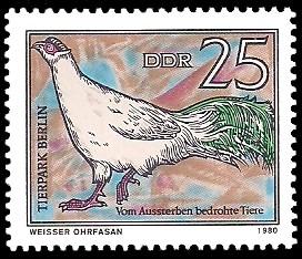 25 Pf Briefmarke: Vom Aussterben bedrohte Tiere, Weisser Ohrfasan