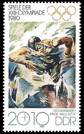 20 + 10 Pf Briefmarke: Spiele der XXII.Olympiade 1980, Schwimmer