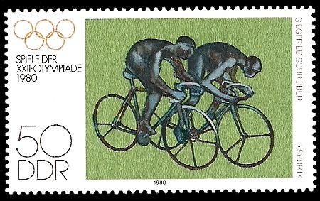50 Pf Briefmarke: Spiele der XXII.Olympiade 1980, Radrennfahrer
