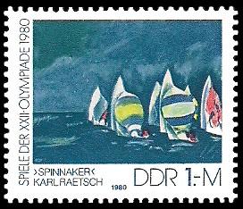 1 M Briefmarke: Spiele der XXII.Olympiade 1980, Spinnaker-Segeln