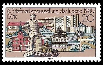 20 Pf Briefmarke: 6. Briefmarkenausstellung der Jugend, Suhl 1980