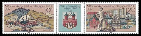 Briefmarke: Dreierstreifen - 6. Briefmarkenausstellung der Jugend 1980