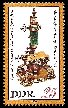 25 Pf Briefmarke: Optisches Museum der Carl-Zeiss-Stiftung Jena, Magny-Mikroskop