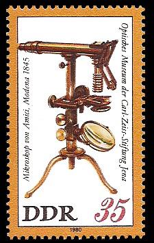 35 Pf Briefmarke: Optisches Museum der Carl-Zeiss-Stiftung Jena, Amici-Mikroskop