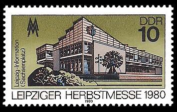 10 Pf Briefmarke: Leipziger Herbstmesse 1980, Leipzig-Information