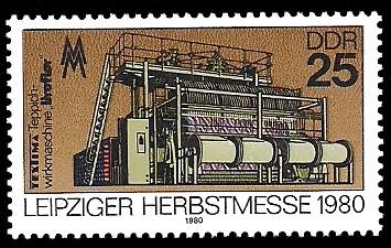 25 Pf Briefmarke: Leipziger Herbstmesse 1980, Teppichwirkmaschine