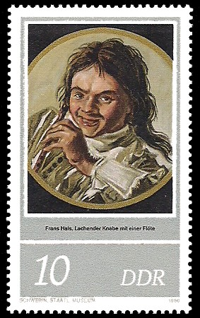 10 Pf Briefmarke: 400. Geburtstag Frans Hals, lachender Knabe