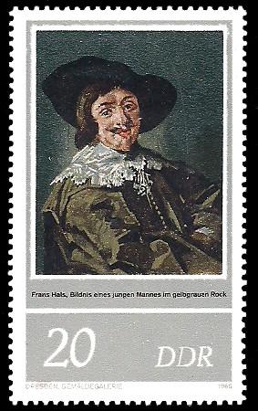 20 Pf Briefmarke: 400. Geburtstag Frans Hals, junger Mann im gelbgrauen Rock