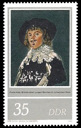 35 Pf Briefmarke: 400. Geburtstag Frans Hals, junger Mann im schwarzen Rock