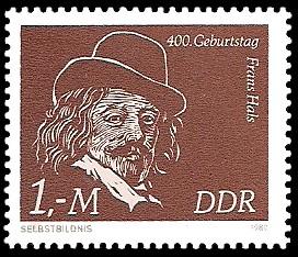 1 M Briefmarke: 400. Geburtstag Frans Hals, Selbstbildnis
