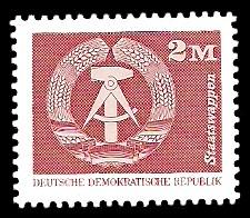 2 M Briefmarke: Sozialistischer Aufbau in der DDR, Staatswappen
