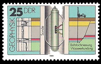 25 Pf Briefmarke: Geophysik, Bohrlochmessung, Sonde