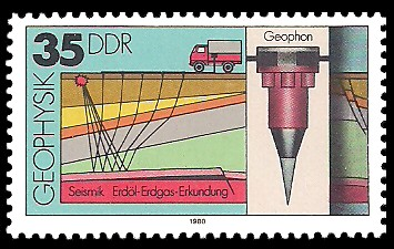 35 Pf Briefmarke: Geophysik, Seismik, Geophon