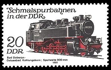 20 Pf Briefmarke: Schmalspurbahnen in der DDR, Lok, Bad Doberan-Kühlungsborn