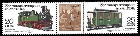 Briefmarke: Dreierstreifen A - Schmalspurbahnen in der DDR, Radebeul-Radeburg