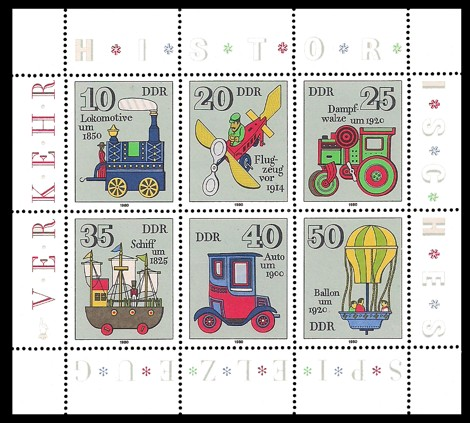 Briefmarke: Kleinbogen - Historisches Spielzeug, Verkehr