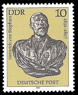 10 Pf Briefmarke: 150. Geburtstag Heinrich von Stephan