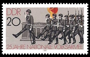 20 Pf Briefmarke: 25 Jahre NVA, Wachwechsel