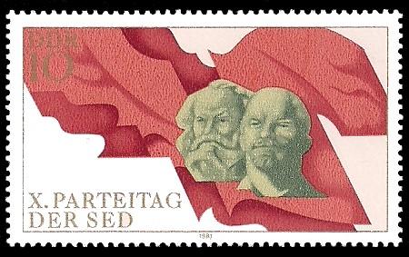 10 Pf Briefmarke: X. Parteitag der SED