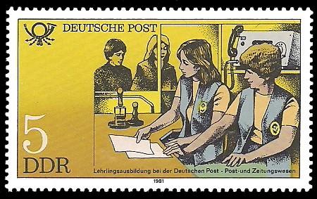 5 Pf Briefmarke: Ausbildung bei der Deutschen Post, Post- und Zeitungswesen