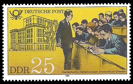 25 Pf Briefmarke: Ausbildung bei der Deutschen Post, Hochschule für Verkehrswesen