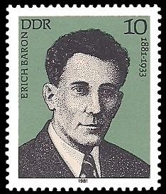 10 Pf Briefmarke: Verdienstvolle Persönlichkeiten der Arbeiterbewegung, Erich Baron