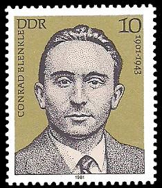 10 Pf Briefmarke: Verdienstvolle Persönlichkeiten der Arbeiterbewegung, Conrad Blenkle