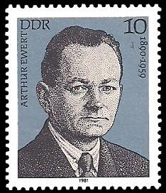 10 Pf Briefmarke: Verdienstvolle Persönlichkeiten der Arbeiterbewegung, Arthur Ewert